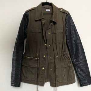 Army Inspired Leather Sleeve Jacket